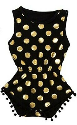 Black & Gold Polka Dot Toddler Kids Baby Girl Summer Jumpsuit Outfit Clothes 1pc