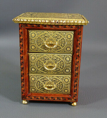VTG Toledo Gold Damascene Steel Marquetry Inlay Wood Jewelry Chest Box 3 Drawers