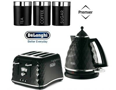 Delonghi Brillante Kettle and Toaster Set with Black 3-Piece Canisters - New
