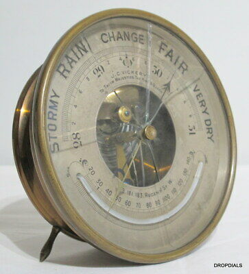Round Brass Barometer/Thermometer by J.C.Vickery. London. c1905.