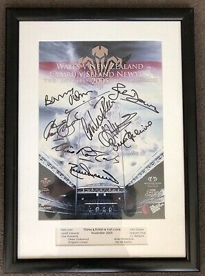 Signed and Framed Rugby Programme Cover From Wales v New Zealand 2005