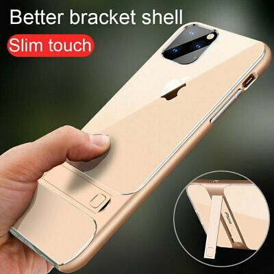 For iPhone 11 Pro Max Ultra Slim Hybrid Case Clear Back Cover With Kickstand