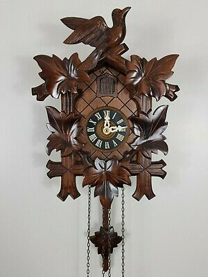Vintage 8 Days Black Forest Bird Nest Cuckoo Clock in perfect condition