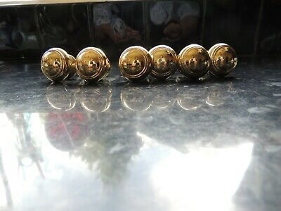 6 small solid used domed brass drawer knobs pulls