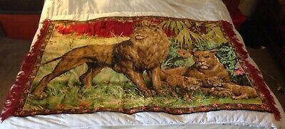 """Vintage Lion Family  tapestry mid-century modern textiles 60"""" x 38"""""""