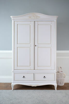 Bordeaux Antique White French Louis Style Shabby Chic 2 Door Wardrobe / Armoire