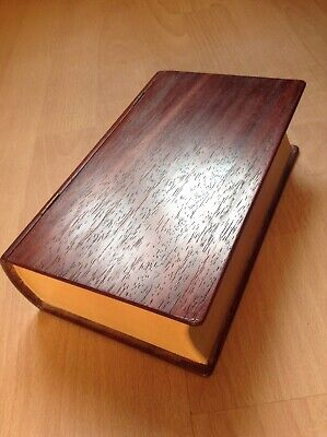 Beautiful Unusual Old wooden sewing box shaped like a book contents included