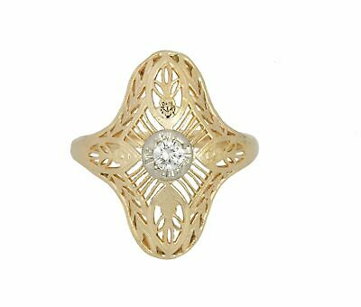 Womens Antique Art Deco 14K Yellow Gold 0.10 CT Solitaire Diamond Filigree Ring