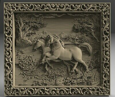 3D STL Models # TWO HORSES IN THE FOREST # for CNC 3D Printer Engraver Carving