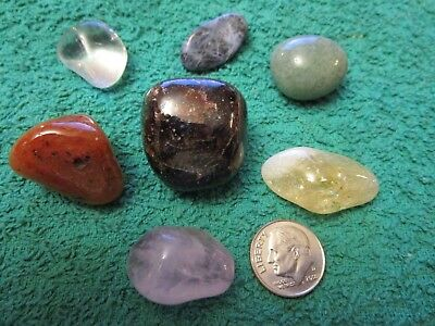 7 TUMBLED STONE CHAKRA KIT REIKI CHARGED Crystal Healing AMETHYST, CLEAR QUARTZ