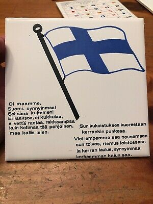 Vintage Decorative Ceramic Tile Trivet Finland Flag