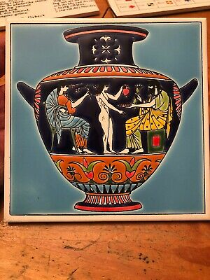 Vintage Ceramic Decorative Tile Trivet Greece Urn Thanos