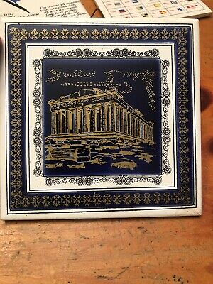 Vintage Decorative Ceramic Tile Trivet Greece Athens Acropolis Thanos