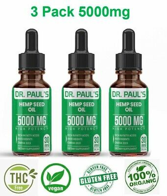 3 Pack Hemp Oil Extract For Pain Relief, Stress Anxiety, Sleep - 5000 mg