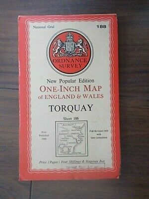 VINTAGE 1946 ORDNANCE SURVEY SHEET MAP No 188 TORQUAY PAPER EDITION