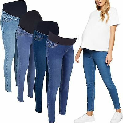 Ladies Womens Denim Over Bump Jeans Jeggings Maternity Stretchy Pregnancy Pant