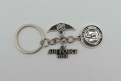AIR FORCE WIFE [Pilot] United States Military Silver Metal Charm Keychain USA