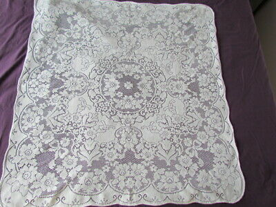 Vintage Antique Quaker type lace Floral Scroll Victorian tablecloth White Small