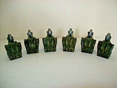 ** ANTIQUE SET of 6 LION CLAW BRASS FURNITURE CASTERS **