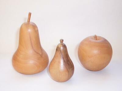 Vintage 1970s WOODEN Display FRUITS - Hand Turned Wood Apple & Pears