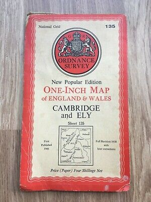 vintage ordnance survey one inch map - Cambridge and Ely (sheet 135) 1946