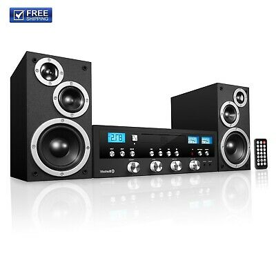 Innovative Technology Classic Retro Bluetooth Stereo System, Cd Player, Fm Radio