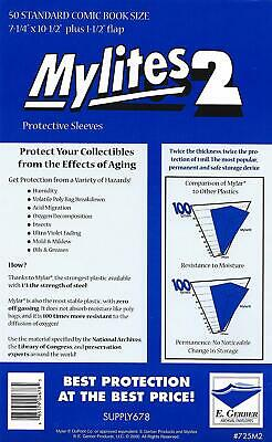 """Mylites 2 Mil Comic Book Standard Size 7 1/4"""" X 10 1/2"""" Plus 1-1/2"""" Flap Pack Of"""