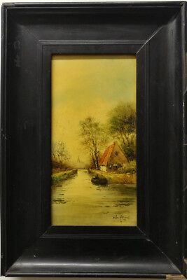 Hand Painted Ceramic Tile, Framed, Village Scene, Signed, 7 x 12, PA5138