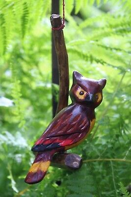 Wise Owl Ornament Hand Carved & Hand Painted Wood Chiapas Mexican Folk Art