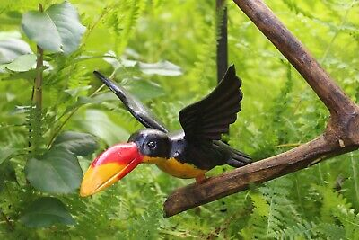 Toucan Bird Ornament Hand Carved & Painted Wood Jungle Chiapas Mexican Folk Art