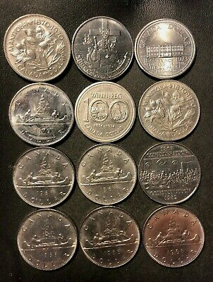 Old Canada Coin Lot - DOLLAR - 12 AU/UNC COINS - Great Group - Lot #918
