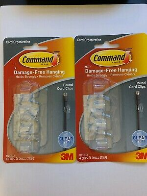 3M COMMAND CORD ORGANIZER CLIPS CABLE TIES DECORATIVE CLEAR WHITE REMOVABLE TAPE