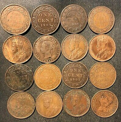 Old Canada Coin Lot - 1886-19120 - 16 LARGE Cents - Rare Coins - Lot #918