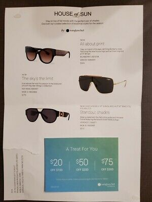 Sunglass Hut @ Macy's $20/$50/$75 Off In Store or Online Coupon Codes valid from