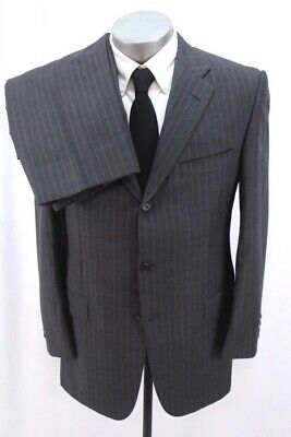 mens charcoal stripe HICKEY FREEMAN 2pc PANT SUIT vanguard worsted wool 40 R
