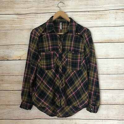 Free People Plaid Flannel Button Down Top. Size XSMALL