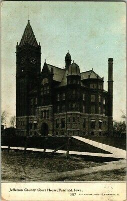 EARLY 1900'S. JEFFERSON COUNTY COURT HOUSE. FAIRFIELD, IOWA POSTCARD q11