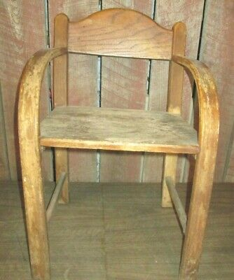 Antique Vintage Old Wooden Child's Bentwood Chair Primitive curved arms Oak