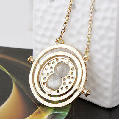 Harry Potter Time Turner Hermione Granger Rotating Hourglass Necklace White Sand