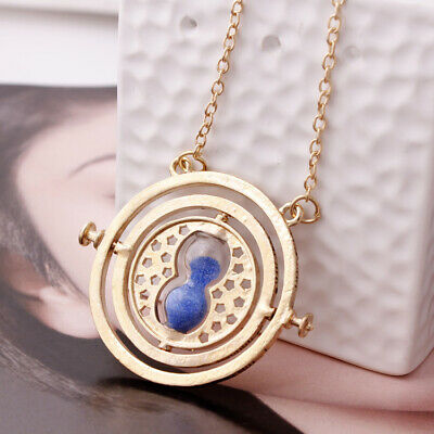 Harry Potter Time Turner Hermione Granger Rotating Hourglass Necklace Blue Sand