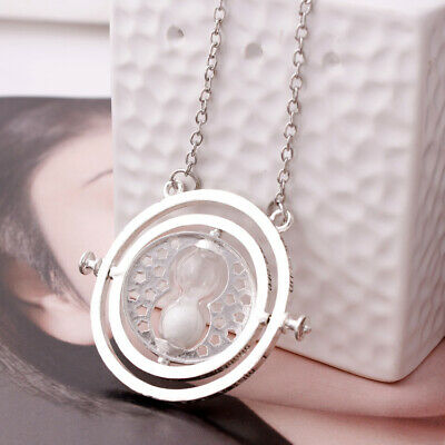 Harry Potter Time Turner Rotating Hourglass Necklace White Sand Silver Plated