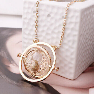 Harry Potter Time Turner Hermione Granger Rotating Hourglass Necklace Gold Sand
