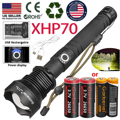 XHP70 500000Lumens Zoomable LED USB Rechargeable Flashlight Torch Powerful Light