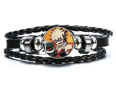 "My Hero Academia Katsuki Bakuguo Bracelet Anime Leather 8"" US Seller"