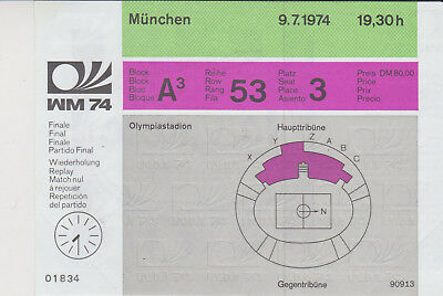 Sammler Used Ticket / Entrada Holland v Germany World Cup 1974 FINAL REPLAY RARE