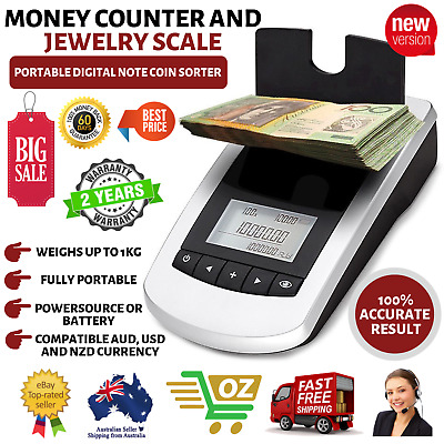 NEW Portable Digital Note Coin Sorter Machine Australian Cash Fast Money Counter
