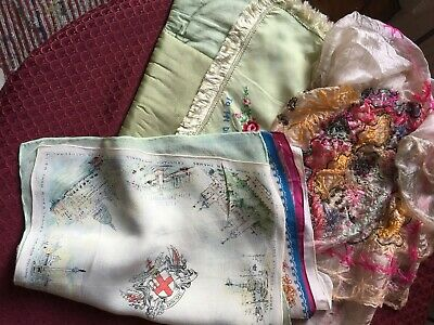 1940s Silk Hankies And Pouch