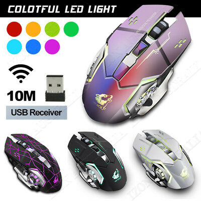 Rechargeable Wireless Ergonomic Optical Gaming Mouse LED Breathing Light