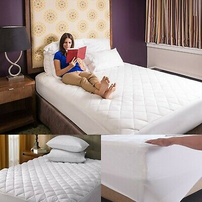 100% Cotton Quilted Mattress Protector Cover Single 4FT Double Super King Size