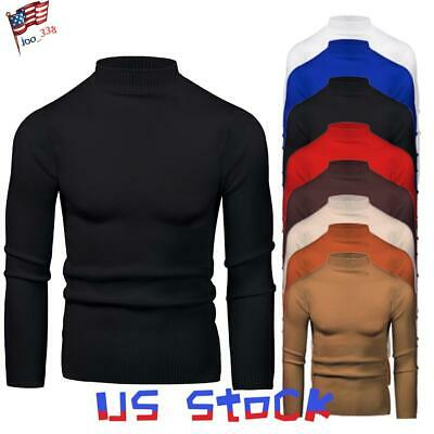 Men Sweaters Turtleneck Blouse Long Sleeve Knitted Tops Slim Fit Muscle Shirt US